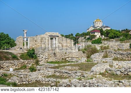 Panorama Of Remains Of Ancient City Chersonesus, Sevastopol, Crimea. Left Side Is Christian Basilica
