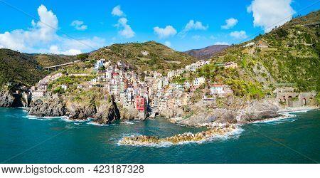 Riomaggiore Aerial Panoramic View. Riomaggiore Is A Small Town In Cinque Terre National Park, La Spe