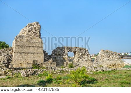 Remains Of Outer Fortifications Of Ancient City Chersonesus, Sevastopol, Crimea. City Was Founded In