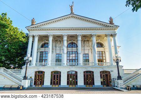 Facade Of Sevastopol Drama Theater Named After A. V. Lunacharsky. Shot In Sevastopol, Crimea