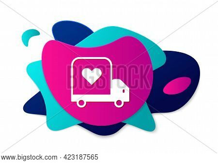 Color Delivery Truck With Heart Icon Isolated On White Background. Love Delivery Truck. Love Truck V