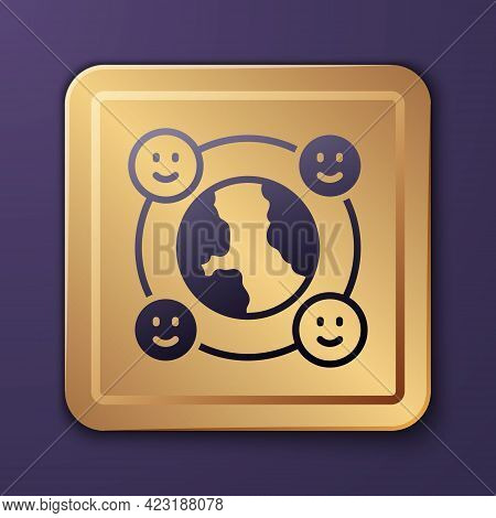 Purple International Community Icon Isolated On Purple Background. Worldwide Community. Cross Cultur