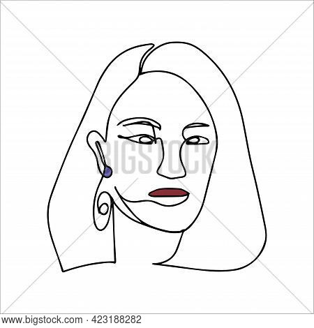 Simple Silhouette Of The Face. Red Lips. Vector Illustration Of A Face In One Line Style. Logo For A
