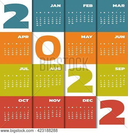 Calendar 2022 Year. Colorful Year 2022 Calendar. Week Starts Sunday. Planner Wall Monthly Calendar F