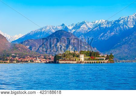 Isola Bella And Stresa Town Aerial Panoramic View. Isola Bella Is One Of The Borromean Islands Of La