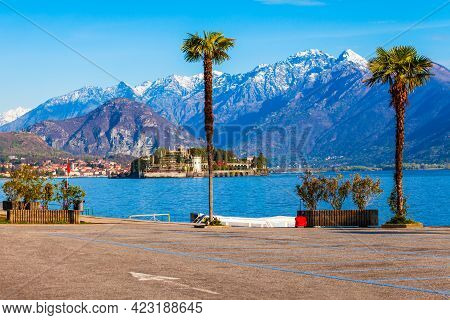 Waterfront In The Stresa Town, Located At The Shore Of The Lago Maggiore Lake In North Italy.