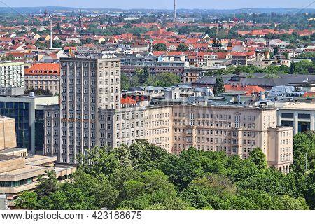 Leipzig, Germany - May 9, 2018: Europa Haus Modernist Skyscraper In Leipzig City, Germany. It Houses