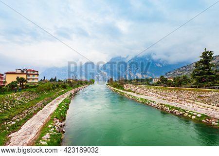 River Near The Riva Del Garda, A Town At The Northern Tip Of The Lake Garda In The Trentino Alto Adi