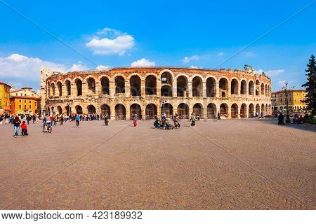 Verona Arena Is A Roman Amphitheatre In Piazza Bra Square In Verona, Italy