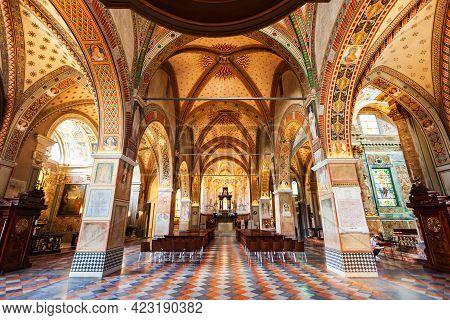 Lugano, Switzerland - July 09, 2019: Lugano Cathedral Or Cattedrale Di San Lorenzo Is A Roman Cathol