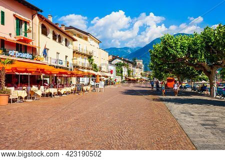 Ascona, Switzerland - July 10, 2019: Street Cafe And Colorful Houses In Ascona, Located Near Locarno