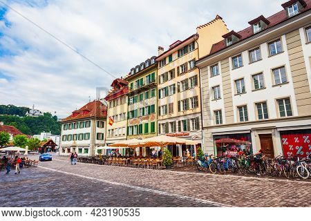 Luzern, Switzerland - July 12, 2019: Street With Colorful Local Style Houses In Lucerne. Lucerne Or