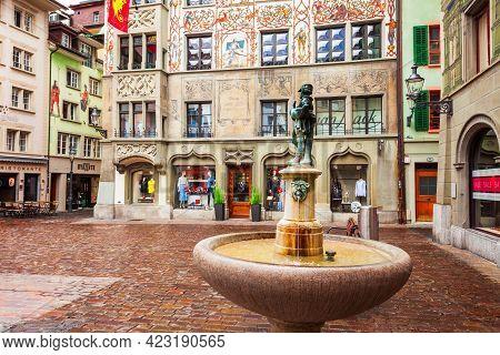 Luzern, Switzerland - July 12, 2019: Hirschenplatz Is A Main Square In Lucerne. Lucerne Or Luzern Is