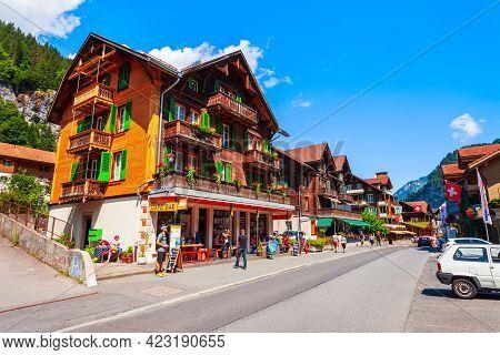 Lauterbrunnen, Switzerland - July 14, 2019: Traditional Local Houses In Lauterbrunnen Village In The