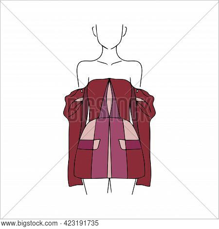 Female Vector Silhouette. Fashion Week. Model In Designer Clothes. Fashionable Bow. Girl In A Red Dr