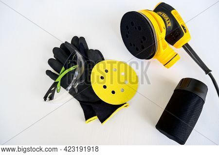Circular Electric Power Sander, Grinder Tool, Surface Sanding Machine, Disconnected Container For Co