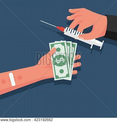 Drug Trade. Drug Deal. The Dealer Sells Syringe With A Dose. Drug Addict With Money In Hand. Abuse A