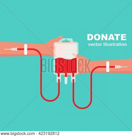 Blood Donation Concept. Blood Transfusion With Hands In Hand. Vector Illustrations Flat Design. Bloo