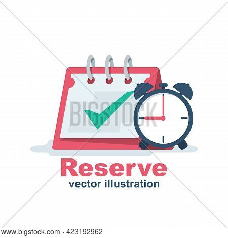 Reservation Icon. Calendar And Clock. Date And Time. Booking Concept. Vector Illustration Flat Desig