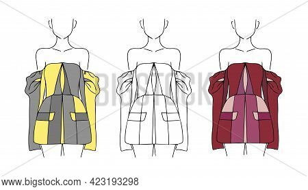 Set Of Models With Design Of Clothes. Female Silhouette Options - Outline, Color And Fill. Fashion W