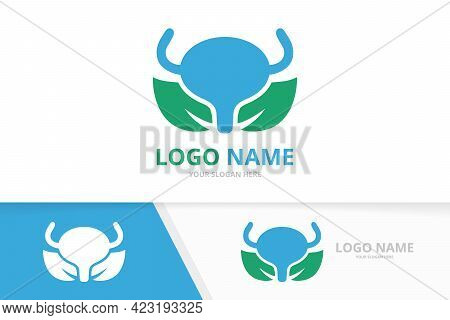 Vector Bladder And Leaf Logo Combination. Urinary Tract Logotype Design Template.