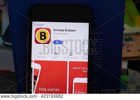 New York, Usa - 1 June 2021: Omroep Brabant Mobile App Logo On Phone Screen, Close-up Icon, Illustra