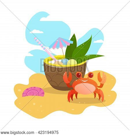 Summer Greeting Card. Postcard. Vector. Funny Crab On The Beach In The Sand. Pineapple Cocktail On T