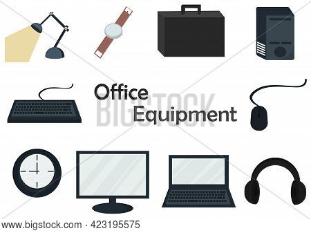 Illustration Of A Collection Of Office Equipment With Several Electronic Equipment Combined