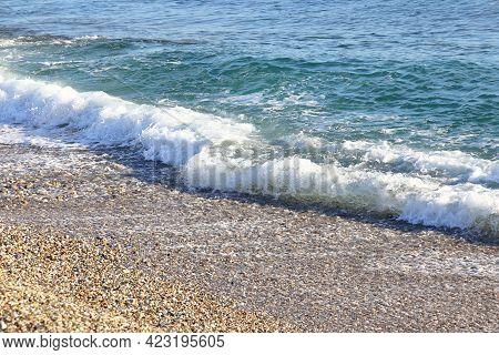 Foamy Wave On A Sandy Beach In Turkey, Background, April, 2021