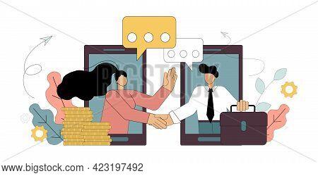 Business Help Concept. Online Entrepreneurship. Funding New Online Business Ideas.
