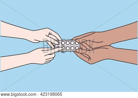 Medical Support And Healthcare Concept. Hands Of Doctor Or Physician Recommending Pills Medical Pres