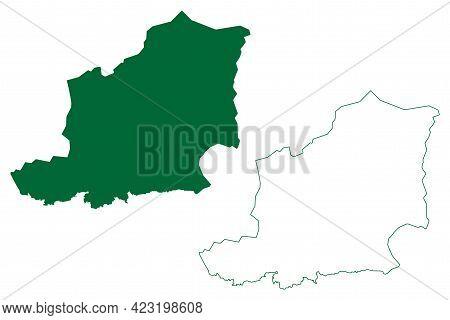 East Khasi Hills District (meghalaya State, Republic Of India) Map Vector Illustration, Scribble Ske