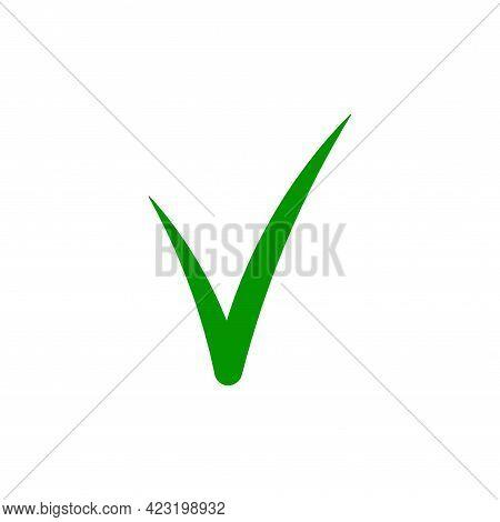Green Check Mark Tick Vector Icon. Simple Flat Design. Silhouette Mark Checklist Vector. Web Icon. V