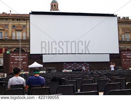 Bologna / Italy - August 29, 2020: Outdoor Cinema Festival (il Cinema Ritrovato, Sotto Le Stelle Del