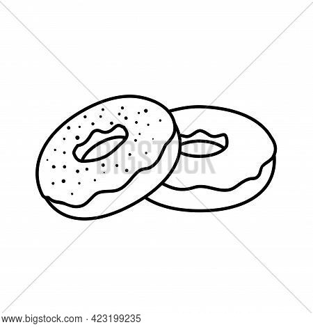 Doughnut Black Icon In Line Style On White Background. Isolated Vector Illustration. Donut Outline S