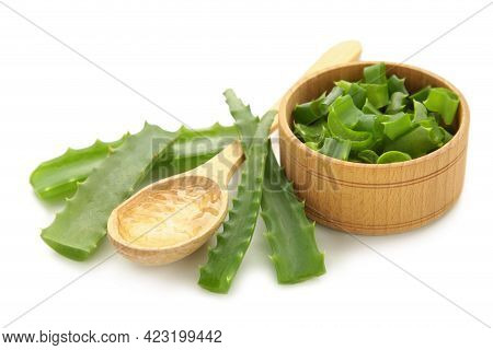 Aloe Vera Gel On Wooden Spoon With Aloe Vera Isolated On White Background. Top View.