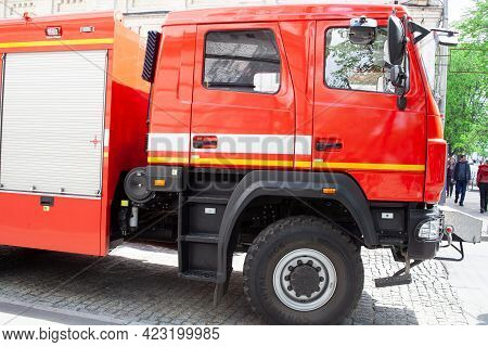 Kiev, Ukraine - May 9, 2021. Fire Brigade Fire Engine Truck. Rescue On Guard. Red Machine. Special V