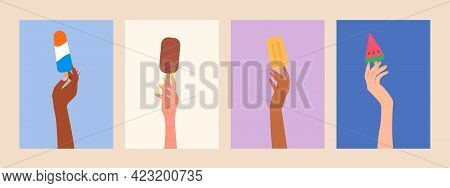 Set Of Female Hands Holding Ice Creams Posters For Web, Print. Summer Food Concept. Modern Summer Ti