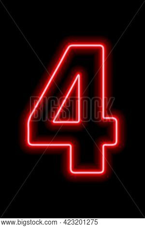 Neon Red Number 4 On Black Background. Learning Numbers, Serial Number, Price, Place.
