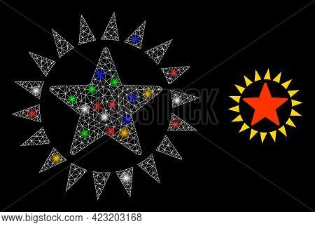 Flare Mesh Network Star Shine With Colored Light Dots. Constellation Vector Frame Created From Star