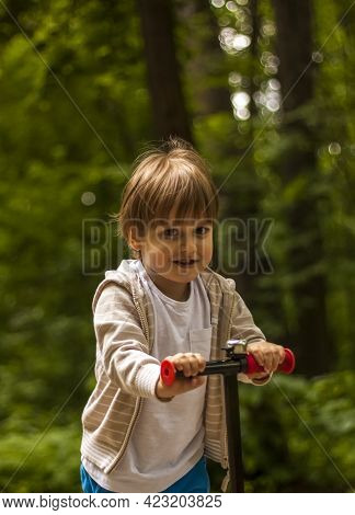 A Preschool Child Rushes On A Scooter Through The Park. Baby In The Park In Sunny Weather. The Boy H