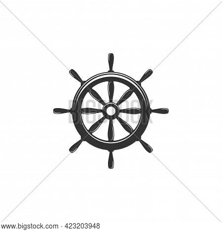Nautical Black Helm Isolated On White. Ship And Boat Steering Wheel Sign. Boat Wheel Control Icon. R