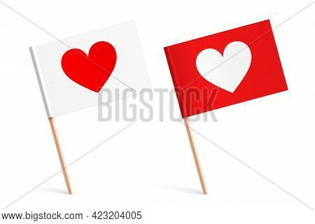 Sticked Little Paper Flags With Heart Icons.