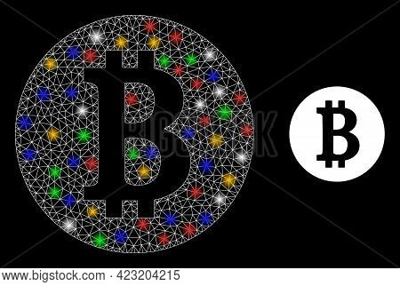 Glowing Mesh Network Bitcoin Coin With Vibrant Glowing Spots. Constellation Vector Model Created Fro