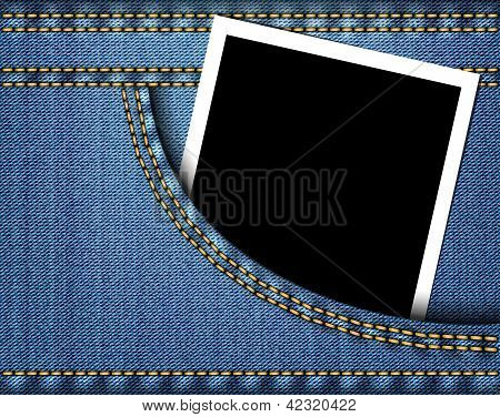 Blank photo frame in blue jeans pocket. Vector illustration poster