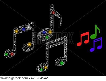Flare Mesh Web Melody Notes With Multi Colored Flash Nodes. Constellation Vector Model Created From