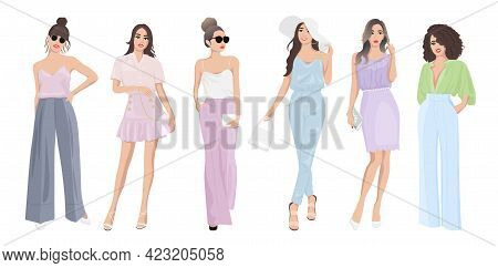 Set Of Women Dressed In Stylish Trendy Pastel Color Summer Spring Clothes 2021 - Fashion Street Styl