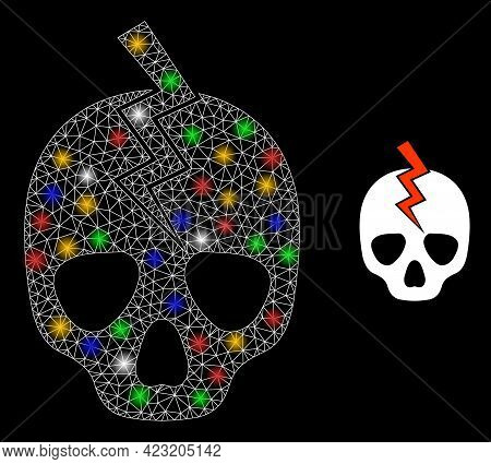 Shiny Mesh Web Death Strike With Colored Light Dots. Constellation Vector Mesh Created From Death St