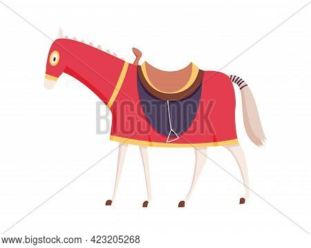 Medieval Kingdom Character Of Middle Ages Historic Period Vector Illustrations. Knight Horse