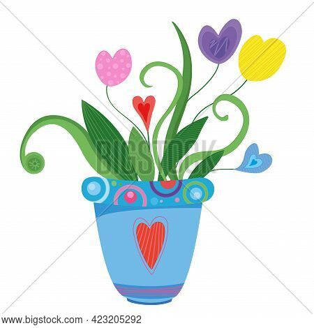 Vector Illustration Home Flowers In Home Pod With Love.